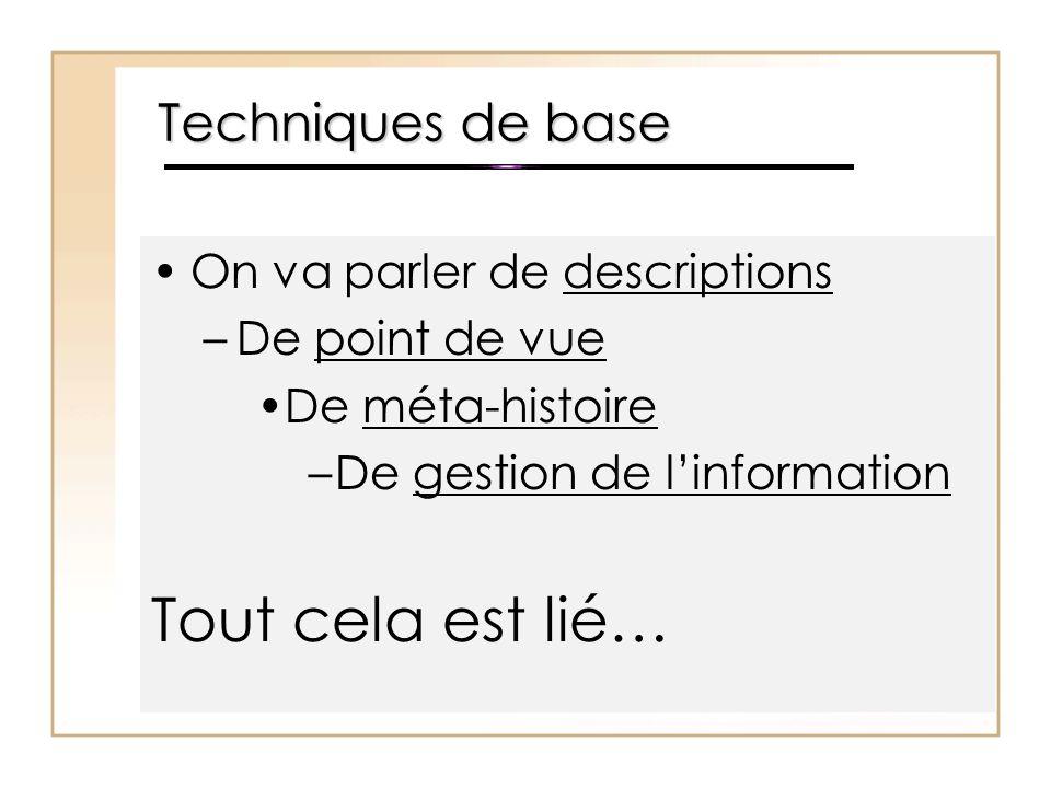 Techniques de base On va parler de descriptions –De point de vue De méta-histoire –De gestion de l'information Tout cela est lié…