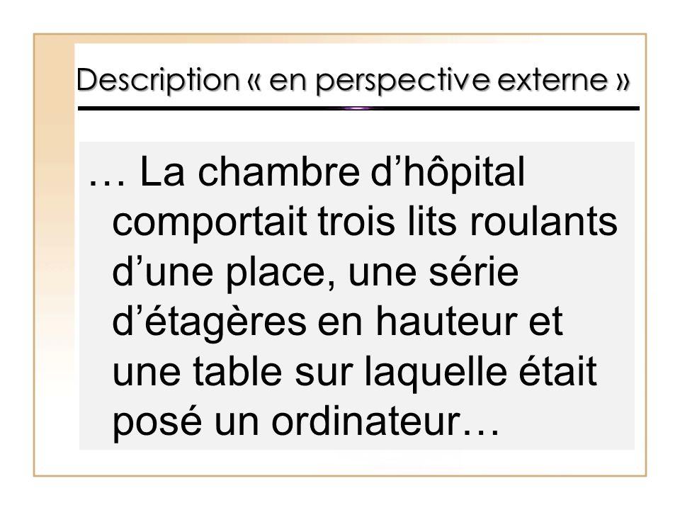 Description « en perspective externe » … La chambre d'hôpital comportait trois lits roulants d'une place, une série d'étagères en hauteur et une table