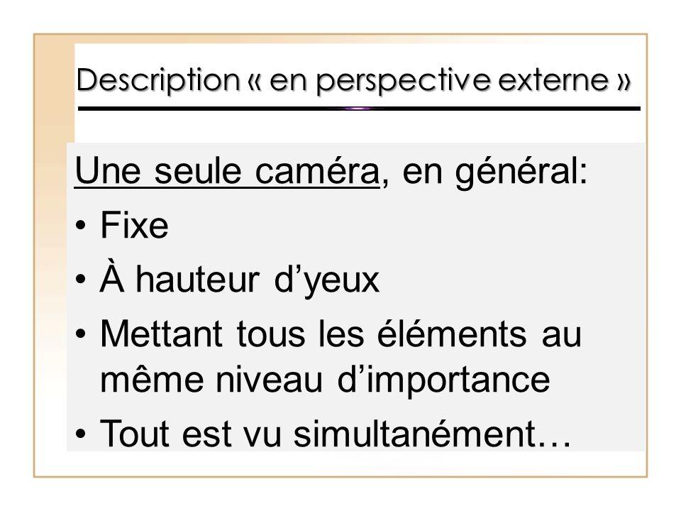 Une seule caméra, en général: Fixe À hauteur d'yeux Mettant tous les éléments au même niveau d'importance Tout est vu simultanément…