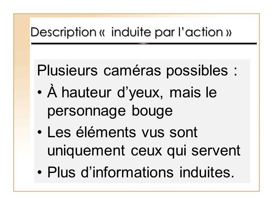 Plusieurs caméras possibles : À hauteur d'yeux, mais le personnage bouge Les éléments vus sont uniquement ceux qui servent Plus d'informations induite
