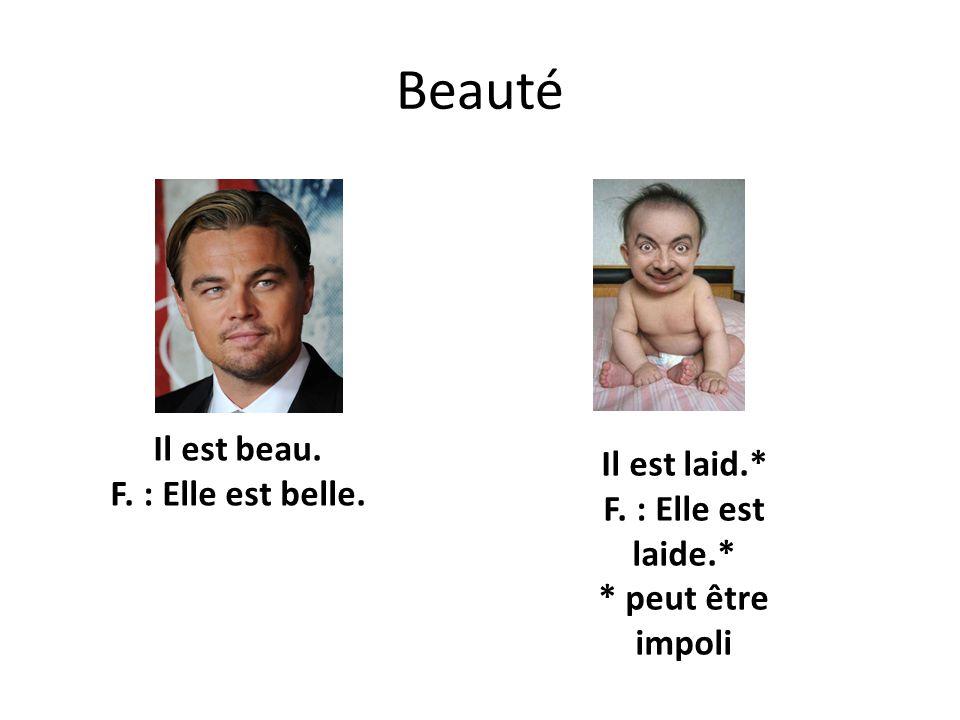 Beauté Il est beau. F. : Elle est belle. Il est laid.* F. : Elle est laide.* * peut être impoli