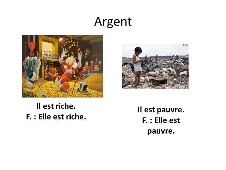 Argent Il est riche. F. : Elle est riche. Il est pauvre. F. : Elle est pauvre.