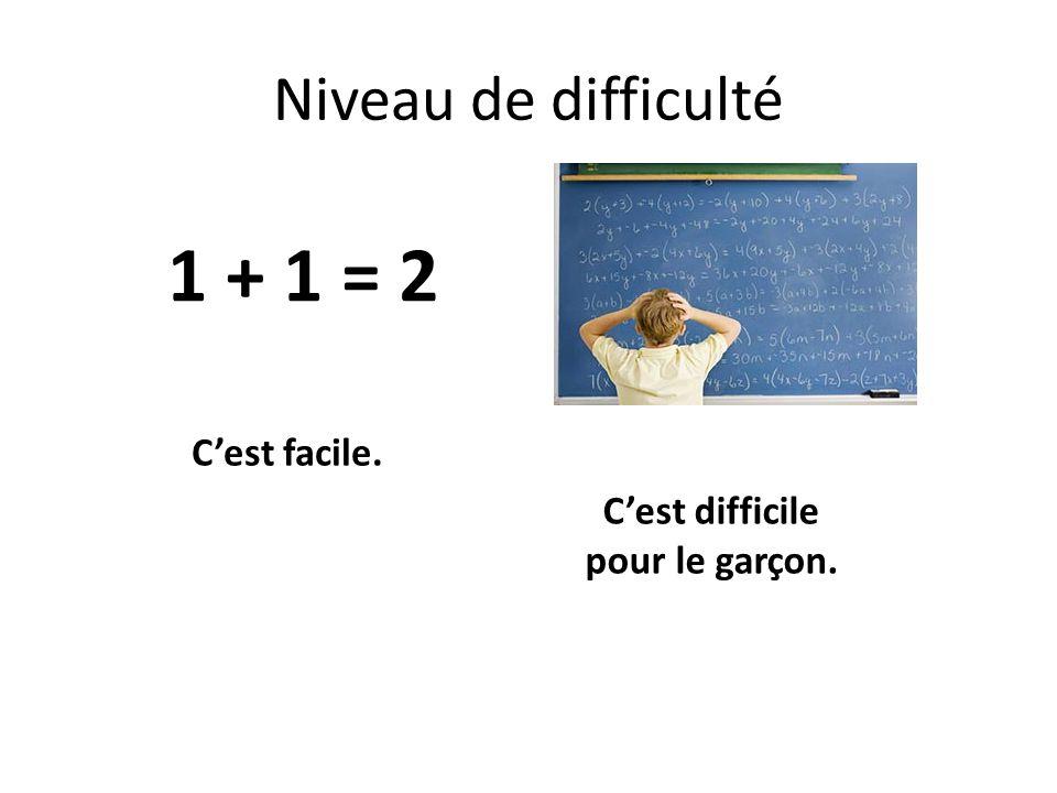 Niveau de difficulté C'est facile. C'est difficile pour le garçon. 1 + 1 = 2
