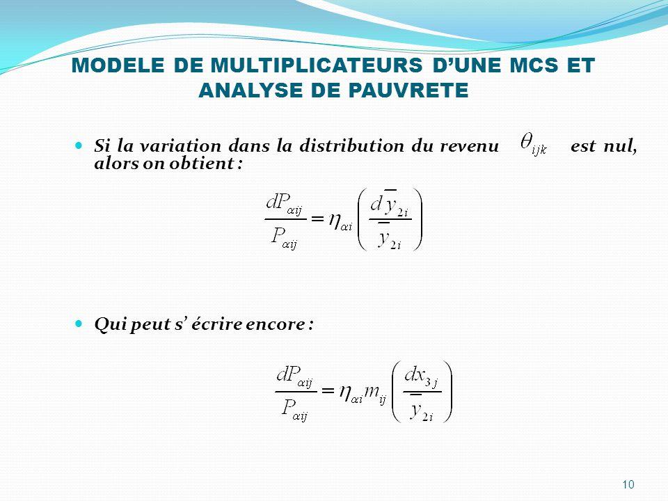 MODELE DE MULTIPLICATEURS D'UNE MCS ET ANALYSE DE PAUVRETE Si la variation dans la distribution du revenu est nul, alors on obtient : Qui peut s' écri