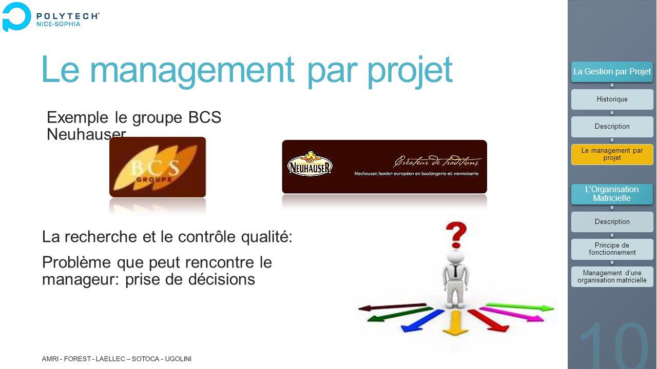 Le management par projet Exemple le groupe BCS Neuhauser AMRI - FOREST - LAELLEC – SOTOCA - UGOLINI 10 La recherche et le contrôle qualité: Problème q