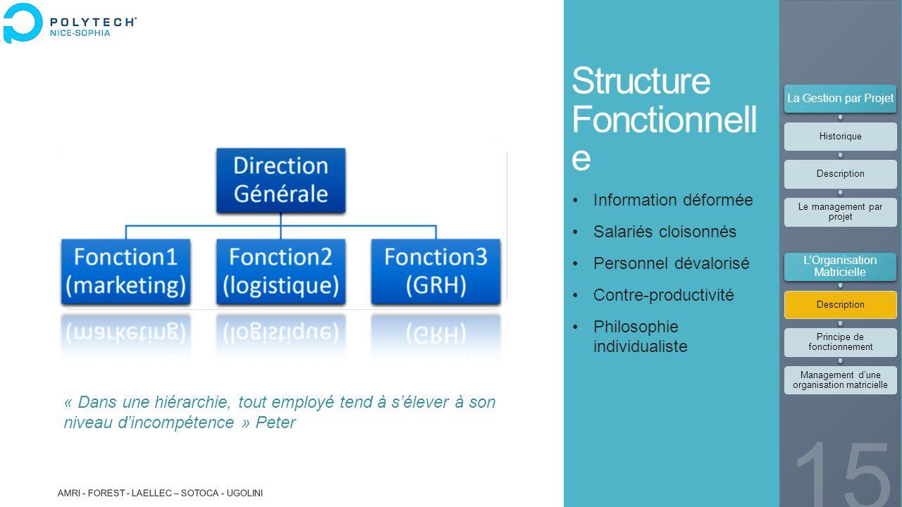 Structure Fonctionnell e Information déformée Salariés cloisonnés Personnel dévalorisé Contre-productivité Philosophie individualiste « Dans une hiéra