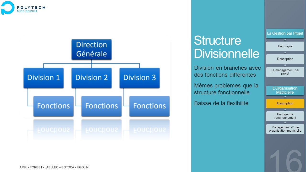 Structure Divisionnelle Division en branches avec des fonctions différentes Mêmes problèmes que la structure fonctionnelle Baisse de la flexibilité AM