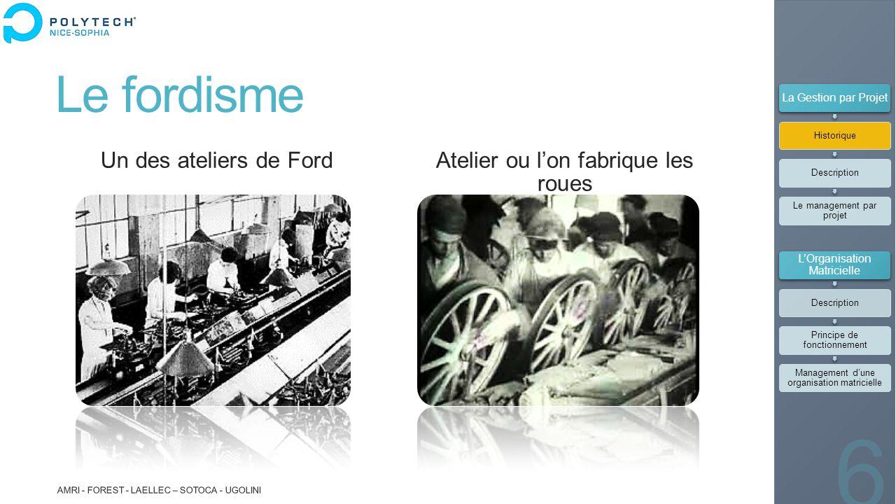 Le fordisme Un des ateliers de Ford Atelier ou l'on fabrique les roues AMRI - FOREST - LAELLEC – SOTOCA - UGOLINI 6