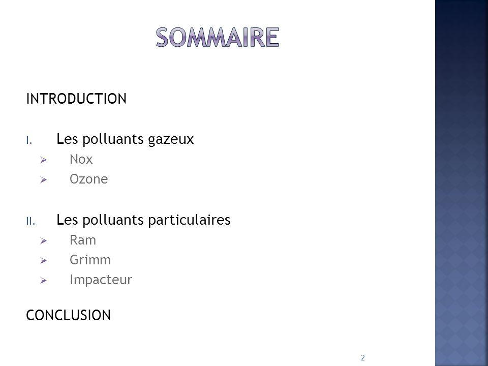 INTRODUCTION I.Les polluants gazeux  Nox  Ozone II.