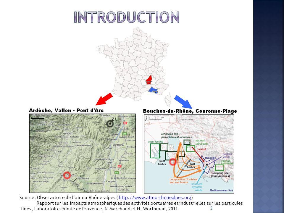 3 Source: Observatoire de l'air du Rhône-alpes ( http://www.atmo-rhonealpes.org)http://www.atmo-rhonealpes.org Rapport sur les impacts atmosphériques des activités portuaires et industrielles sur les particules fines, Laboratoire chimie de Provence, N.Marchand et H.