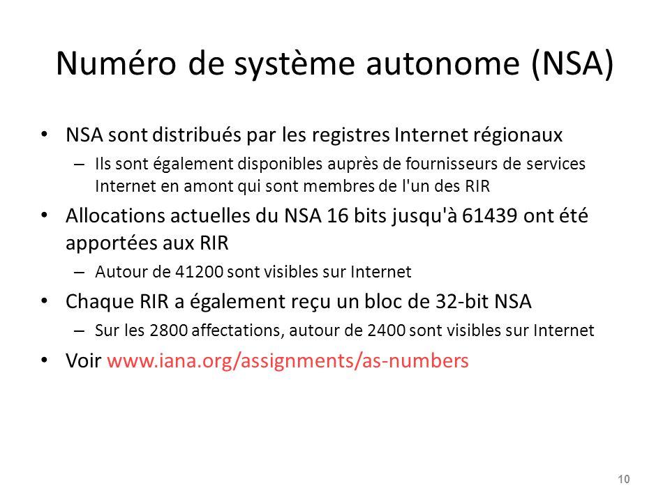 Numéro de système autonome (NSA) NSA sont distribués par les registres Internet régionaux – Ils sont également disponibles auprès de fournisseurs de s