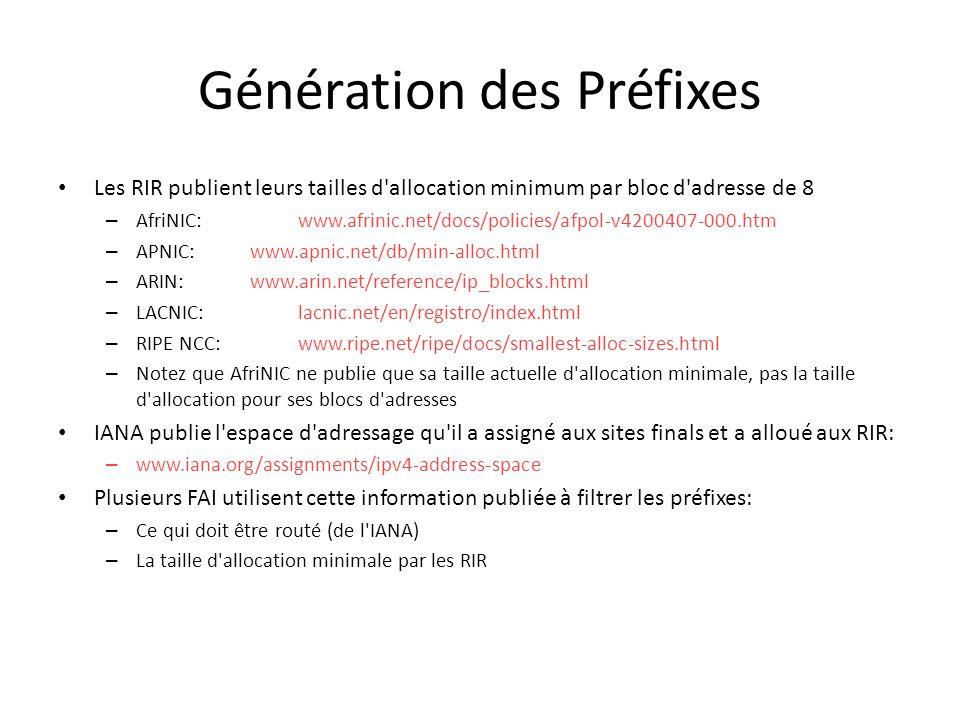 Génération des Préfixes Les RIR publient leurs tailles d'allocation minimum par bloc d'adresse de 8 – AfriNIC:www.afrinic.net/docs/policies/afpol-v420