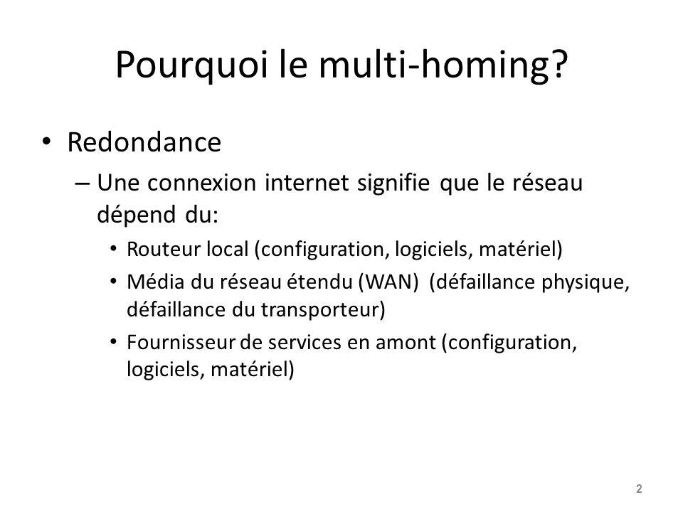 Pourquoi le multi-homing? Redondance – Une connexion internet signifie que le réseau dépend du: Routeur local (configuration, logiciels, matériel) Méd