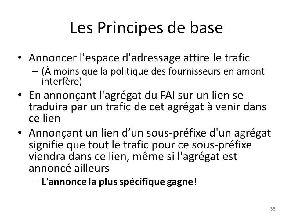 Les Principes de base Annoncer l'espace d'adressage attire le trafic – (À moins que la politique des fournisseurs en amont interfère) En annonçant l'a