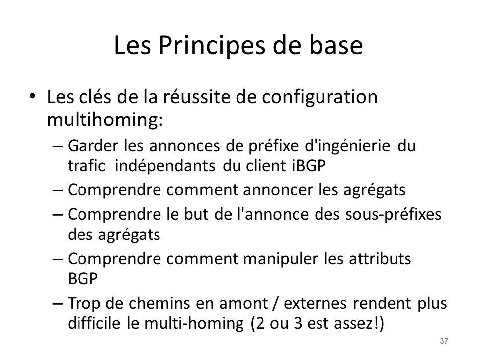 Les Principes de base Les clés de la réussite de configuration multihoming: – Garder les annonces de préfixe d'ingénierie du trafic indépendants du cl