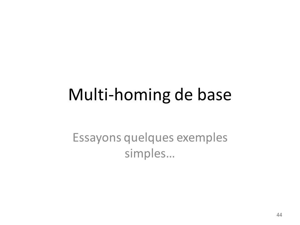 Multi-homing de base Essayons quelques exemples simples… 44