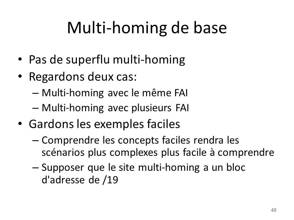 Multi-homing de base Pas de superflu multi-homing Regardons deux cas: – Multi-homing avec le même FAI – Multi-homing avec plusieurs FAI Gardons les ex