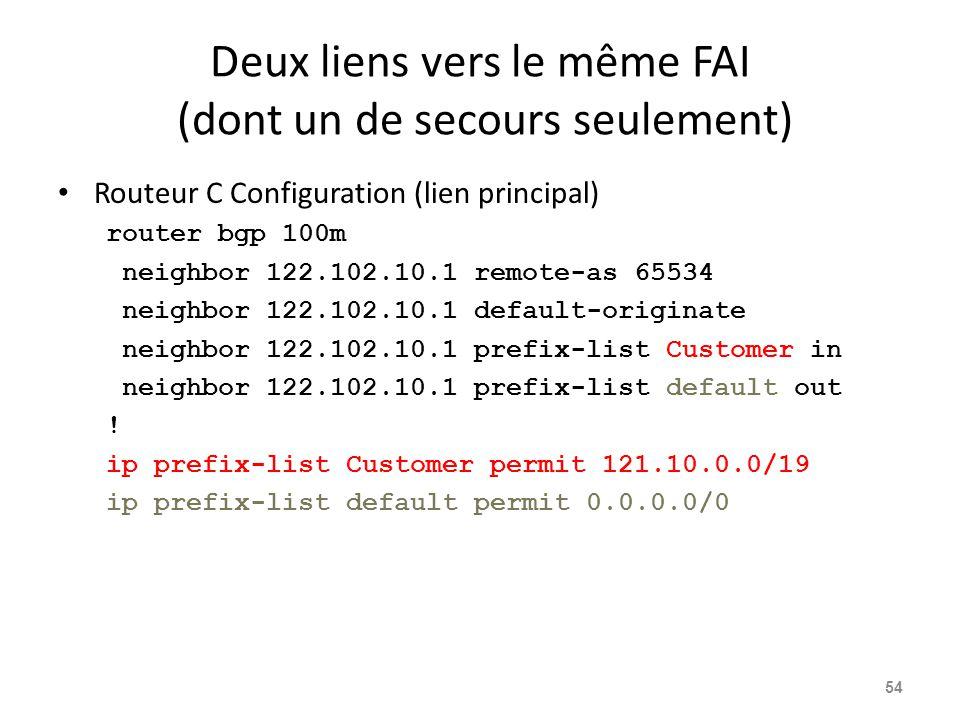 Deux liens vers le même FAI (dont un de secours seulement) Routeur C Configuration (lien principal) router bgp 100m neighbor 122.102.10.1 remote-as 65