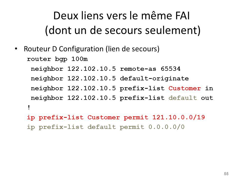 Deux liens vers le même FAI (dont un de secours seulement) Routeur D Configuration (lien de secours) router bgp 100m neighbor 122.102.10.5 remote-as 6