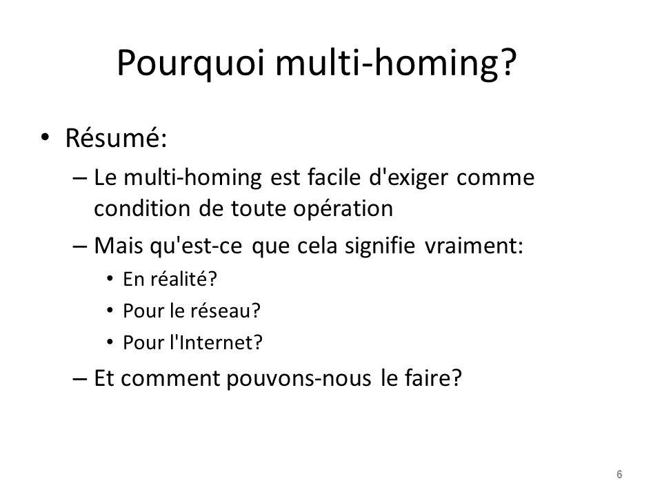 Pourquoi multi-homing? Résumé: – Le multi-homing est facile d'exiger comme condition de toute opération – Mais qu'est-ce que cela signifie vraiment: E
