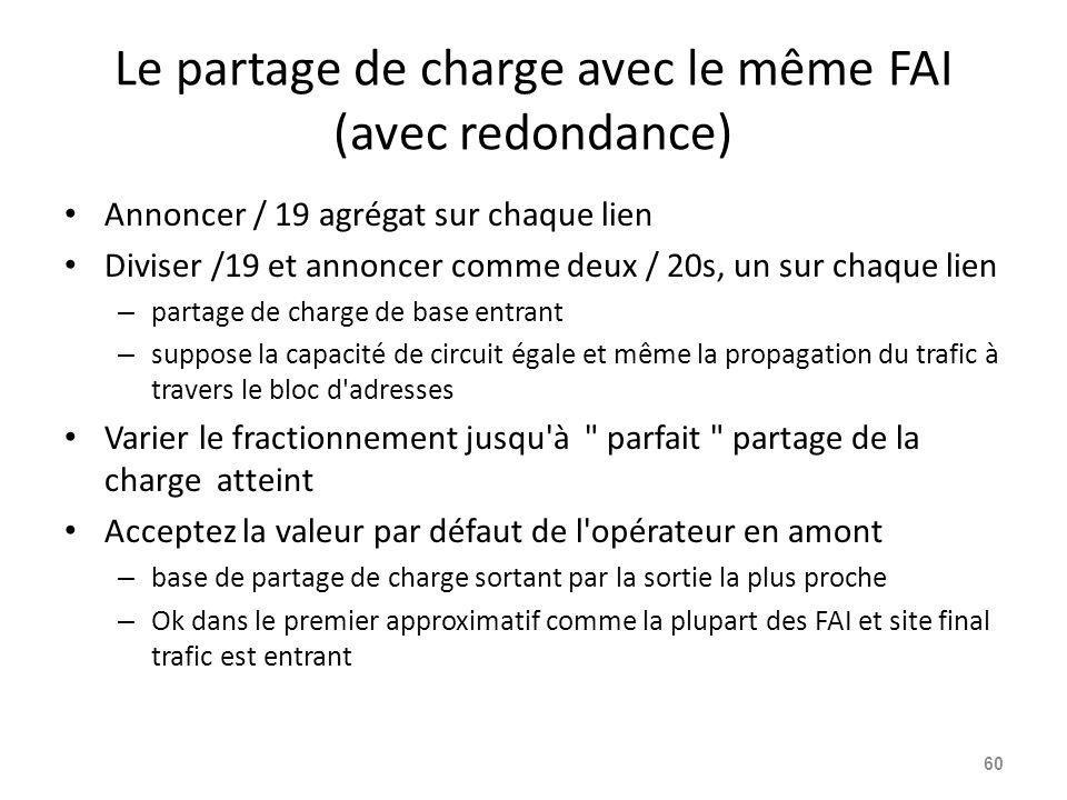 Le partage de charge avec le même FAI (avec redondance) Annoncer / 19 agrégat sur chaque lien Diviser /19 et annoncer comme deux / 20s, un sur chaque