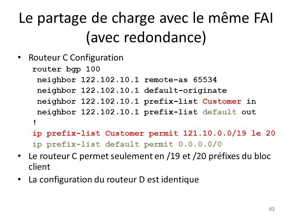Le partage de charge avec le même FAI (avec redondance) Routeur C Configuration router bgp 100 neighbor 122.102.10.1 remote-as 65534 neighbor 122.102.