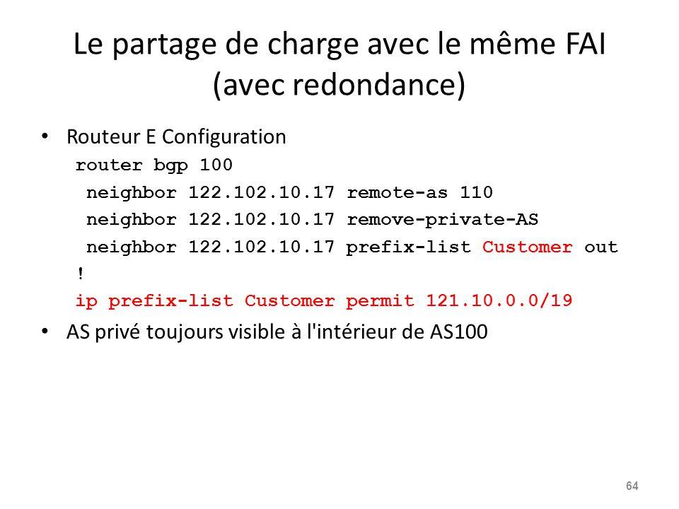 Le partage de charge avec le même FAI (avec redondance) Routeur E Configuration router bgp 100 neighbor 122.102.10.17 remote-as 110 neighbor 122.102.1
