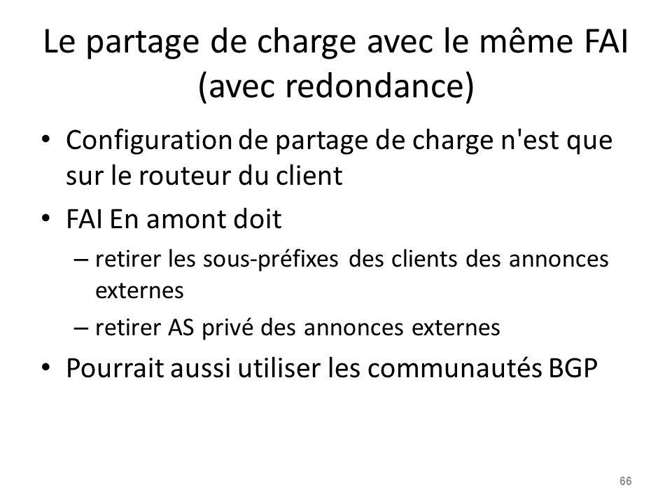 Le partage de charge avec le même FAI (avec redondance) Configuration de partage de charge n'est que sur le routeur du client FAI En amont doit – reti