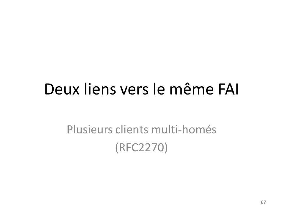 Deux liens vers le même FAI Plusieurs clients multi-homés (RFC2270) 67