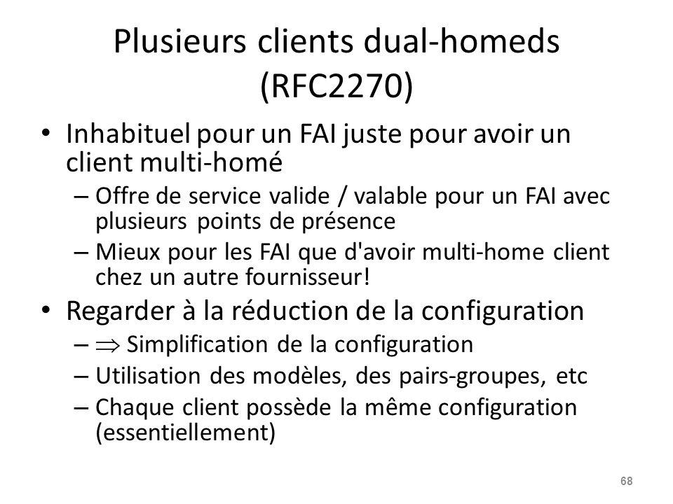 Plusieurs clients dual-homeds (RFC2270) Inhabituel pour un FAI juste pour avoir un client multi-homé – Offre de service valide / valable pour un FAI a