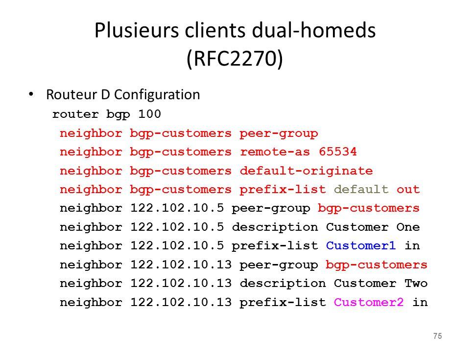 Plusieurs clients dual-homeds (RFC2270) Routeur D Configuration router bgp 100 neighbor bgp-customers peer-group neighbor bgp-customers remote-as 6553