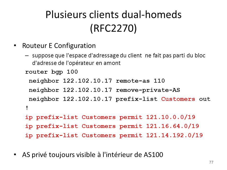 Plusieurs clients dual-homeds (RFC2270) Routeur E Configuration – suppose que l'espace d'adressage du client ne fait pas parti du bloc d'adresse de l'