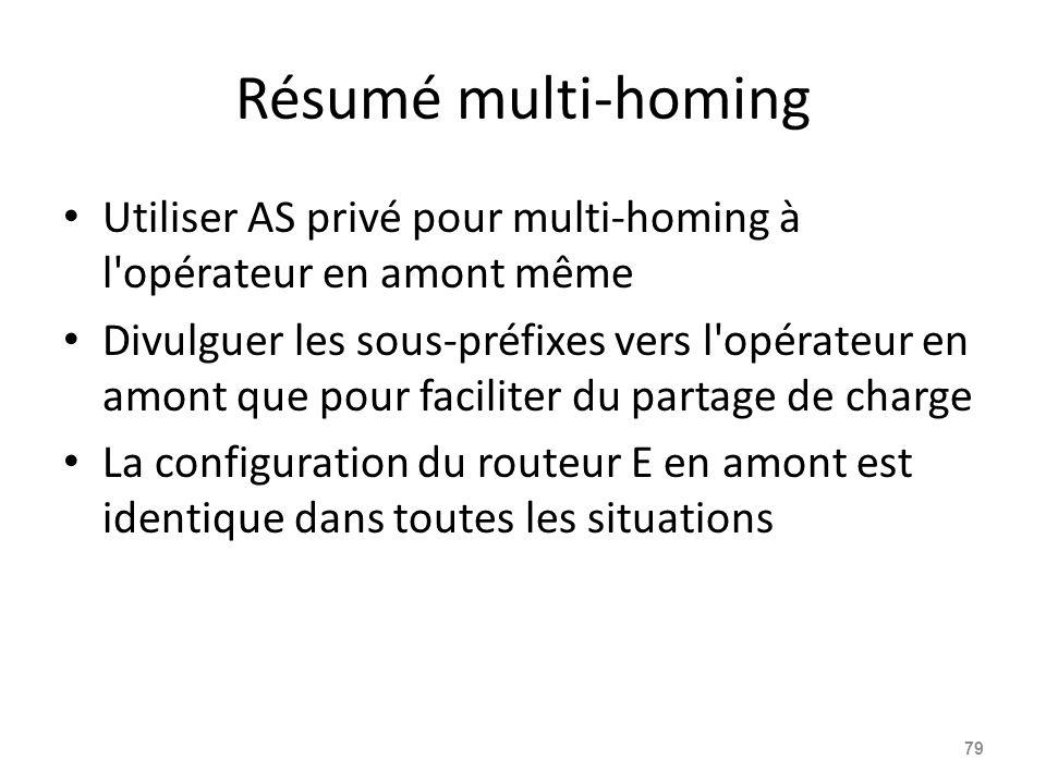 Résumé multi-homing Utiliser AS privé pour multi-homing à l'opérateur en amont même Divulguer les sous-préfixes vers l'opérateur en amont que pour fac