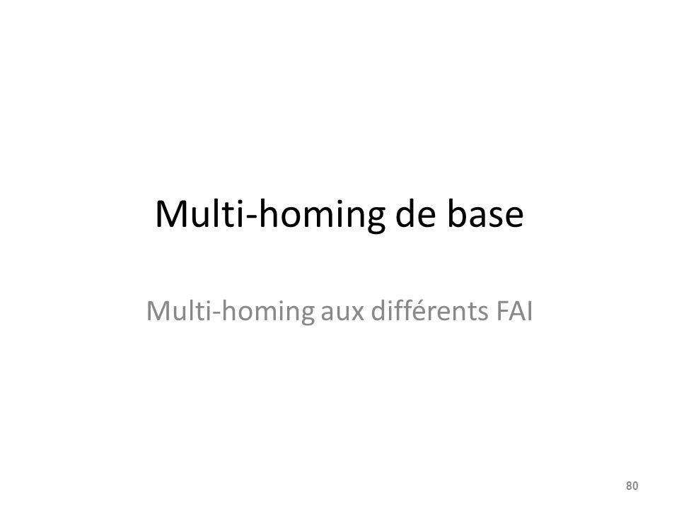 Multi-homing de base Multi-homing aux différents FAI 80