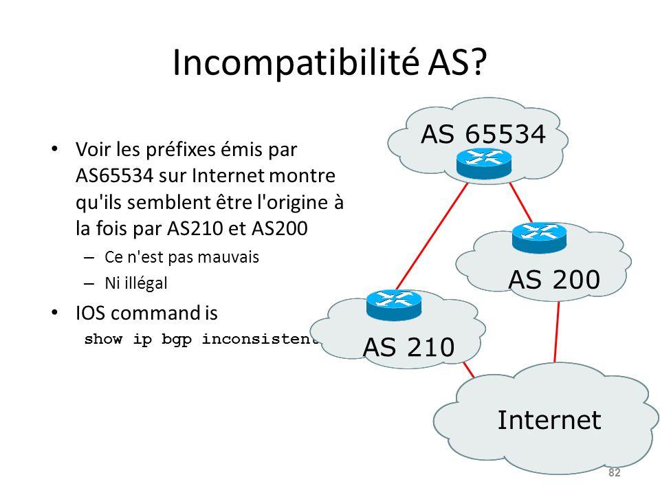 Incompatibilité AS? Voir les préfixes émis par AS65534 sur Internet montre qu'ils semblent être l'origine à la fois par AS210 et AS200 – Ce n'est pas