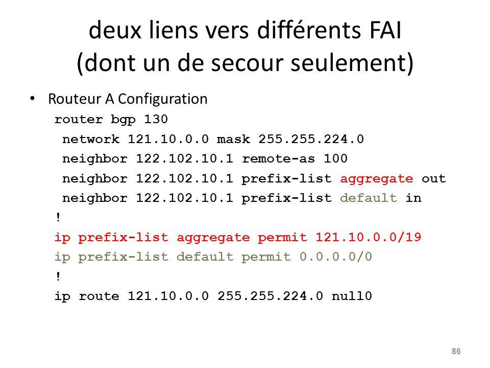 deux liens vers différents FAI (dont un de secour seulement) Routeur A Configuration router bgp 130 network 121.10.0.0 mask 255.255.224.0 neighbor 122