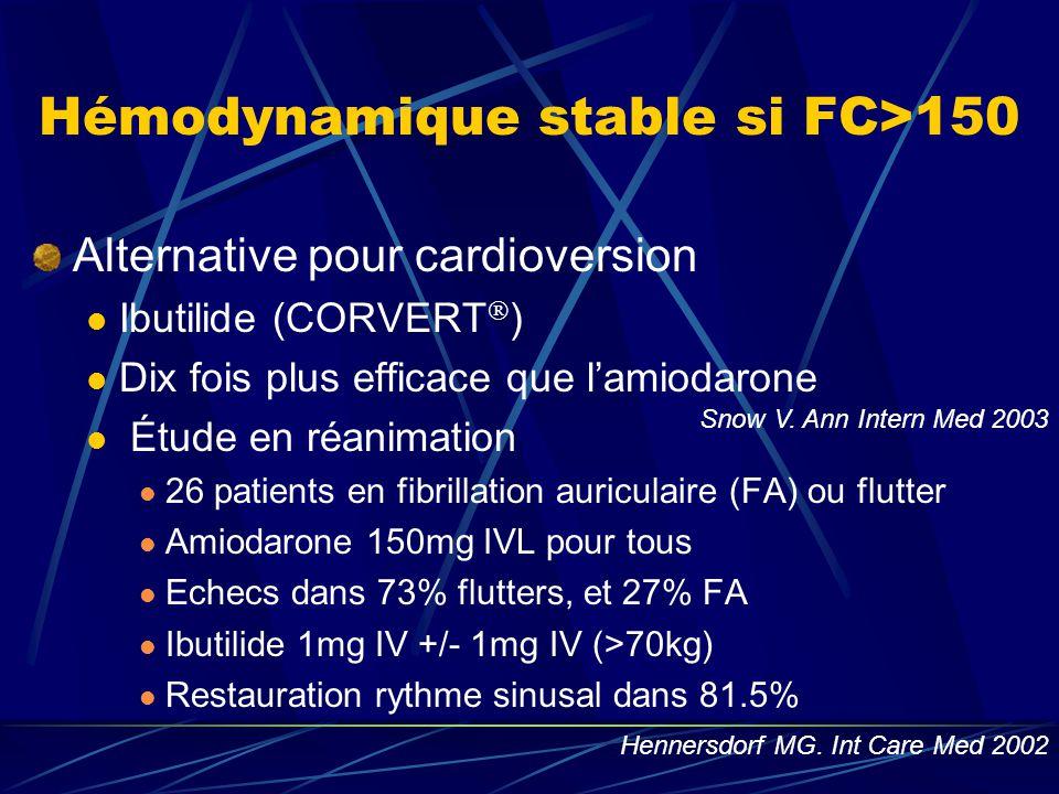 Alternative pour cardioversion Ibutilide (CORVERT  ) Dix fois plus efficace que l'amiodarone Étude en réanimation 26 patients en fibrillation auricul