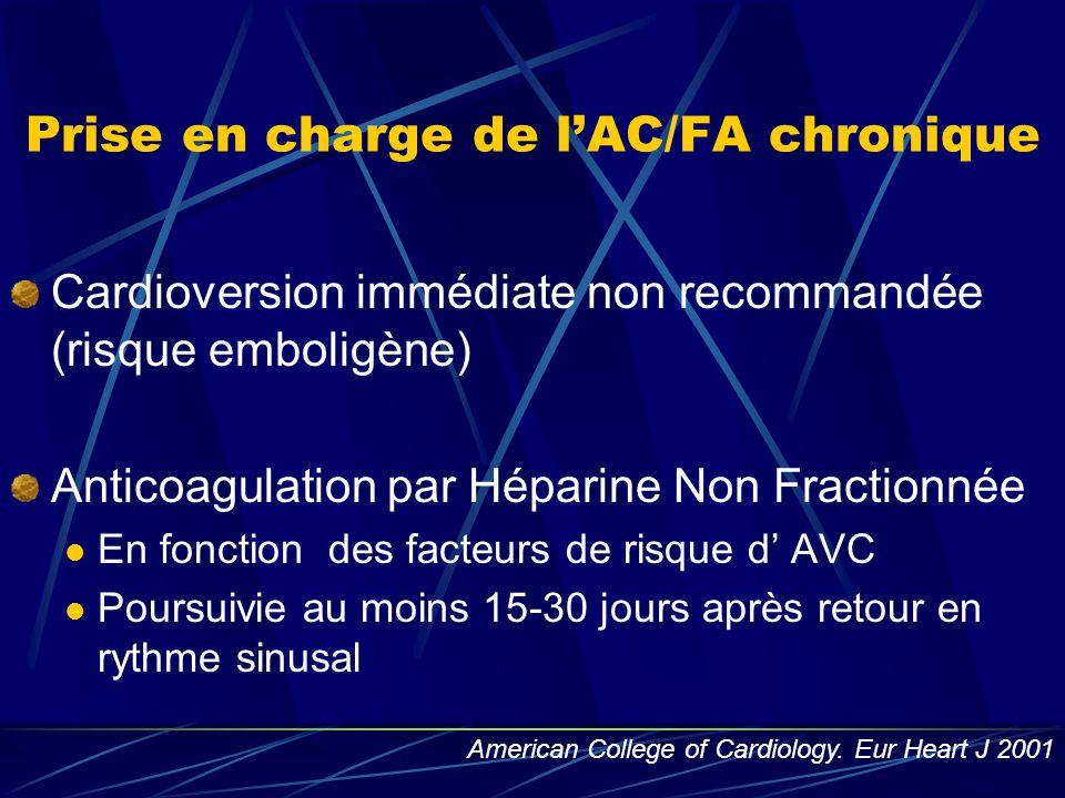 Prise en charge de l'AC/FA chronique Cardioversion immédiate non recommandée (risque emboligène) Anticoagulation par Héparine Non Fractionnée En fonct