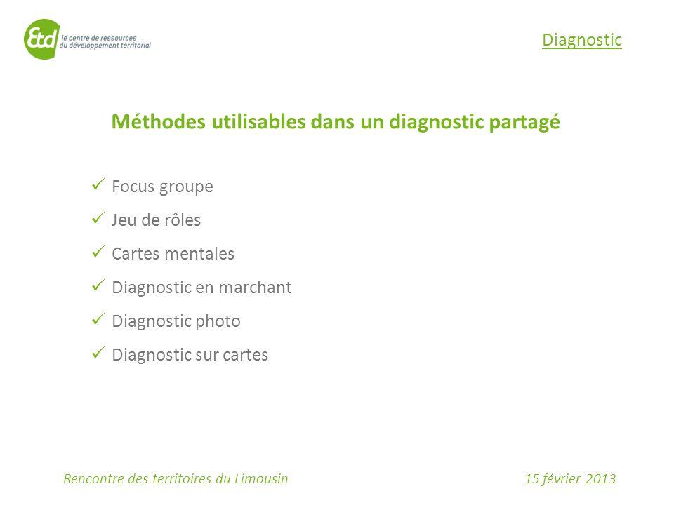 15 février 2013Rencontre des territoires du Limousin Diagnostic Méthodes utilisables dans un diagnostic partagé Focus groupe Jeu de rôles Cartes mentales Diagnostic en marchant Diagnostic photo Diagnostic sur cartes
