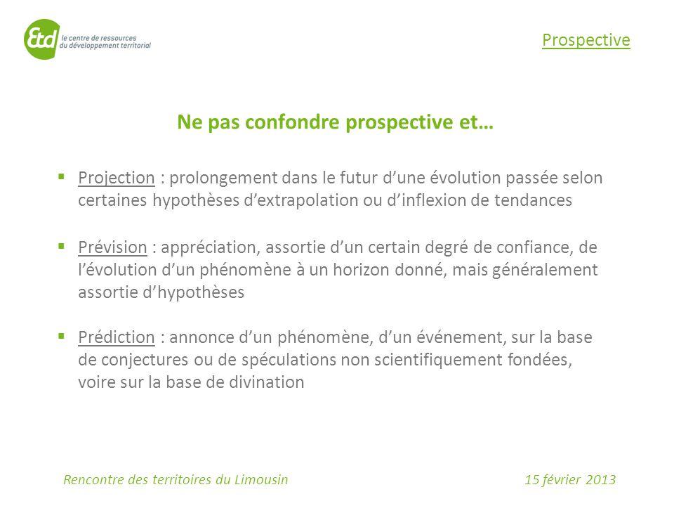 15 février 2013Rencontre des territoires du Limousin Prospective Ne pas confondre prospective et…  Projection : prolongement dans le futur d'une évol