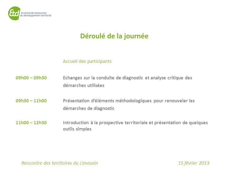 15 février 2013Rencontre des territoires du Limousin Déroulé de la journée Accueil des participants 09h00 – 09h30Echanges sur la conduite de diagnosti