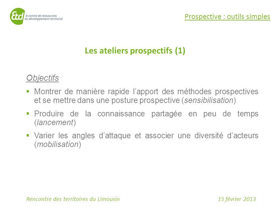 15 février 2013Rencontre des territoires du Limousin Prospective : outils simples Objectifs  Montrer de manière rapide l'apport des méthodes prospect