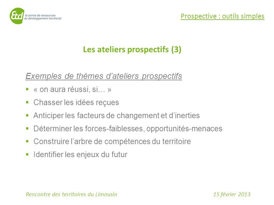 15 février 2013Rencontre des territoires du Limousin Prospective : outils simples Les ateliers prospectifs (3) Exemples de thèmes d'ateliers prospecti