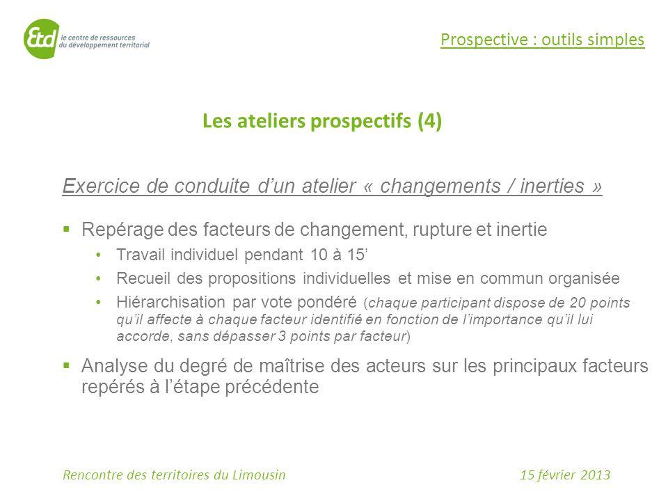 15 février 2013Rencontre des territoires du Limousin Prospective : outils simples Les ateliers prospectifs (4) Exercice de conduite d'un atelier « cha
