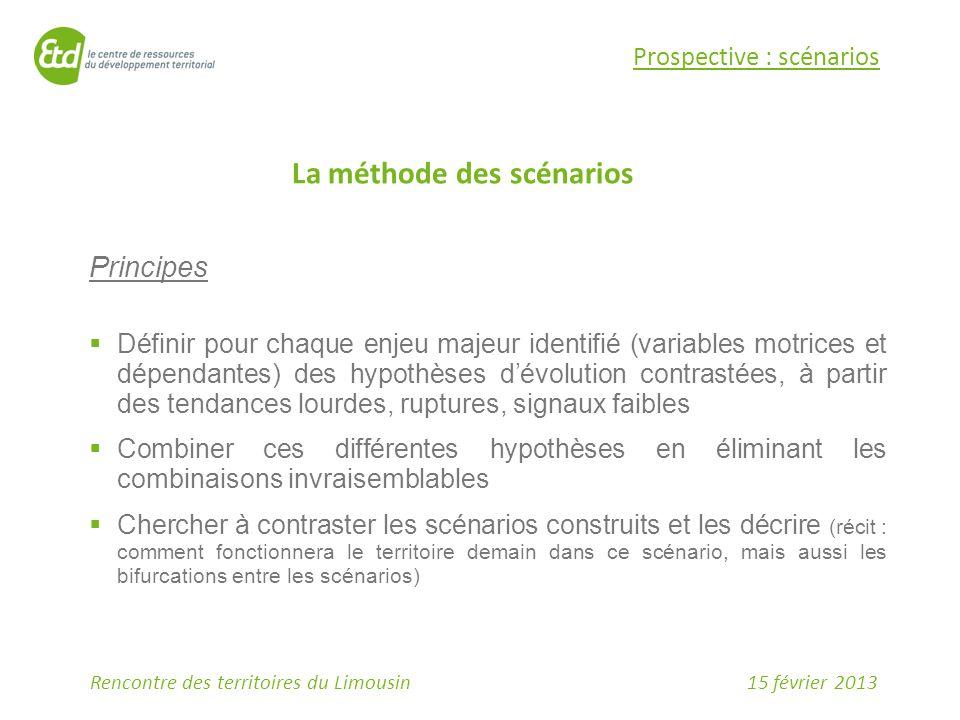 15 février 2013Rencontre des territoires du Limousin Prospective : scénarios La méthode des scénarios Principes  Définir pour chaque enjeu majeur ide