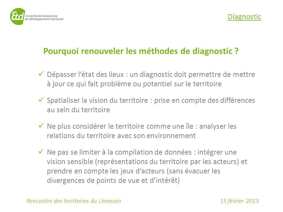 15 février 2013Rencontre des territoires du Limousin Diagnostic Pourquoi renouveler les méthodes de diagnostic ? Dépasser l'état des lieux : un diagno