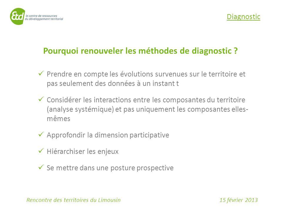 15 février 2013Rencontre des territoires du Limousin Pourquoi renouveler les méthodes de diagnostic ? Prendre en compte les évolutions survenues sur l
