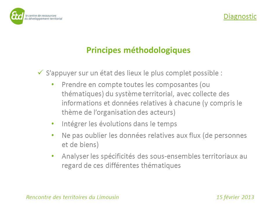 15 février 2013Rencontre des territoires du Limousin Diagnostic Principes méthodologiques S'appuyer sur un état des lieux le plus complet possible : P