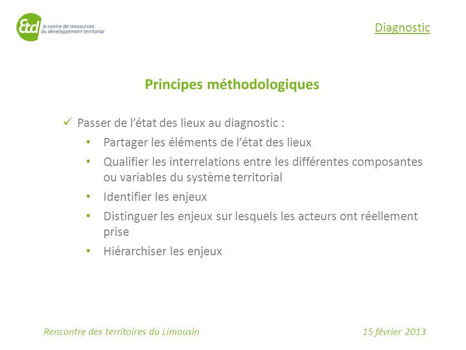 15 février 2013Rencontre des territoires du Limousin Diagnostic Principes méthodologiques Passer de l'état des lieux au diagnostic : Partager les élém