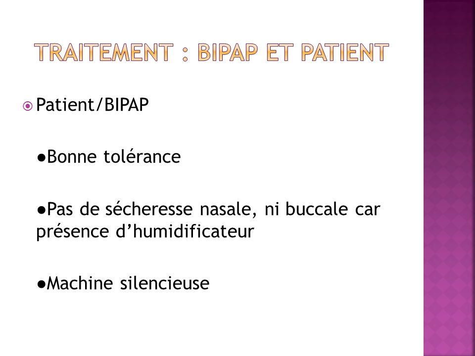  Patient/BIPAP ●Bonne tolérance ●Pas de sécheresse nasale, ni buccale car présence d'humidificateur ●Machine silencieuse